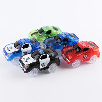 5 4cm magiczna elektronika LED samochody zabawkowe z migające światła edukacyjne zabawki elektronika blask światła samochodowe świecące wyścigi zabawki tanie i dobre opinie JIMITU Z tworzywa sztucznego 2-4 lat Diecast Glowing track car 1 43 Keep away from fire Inne Samochód Glowing car Magical track
