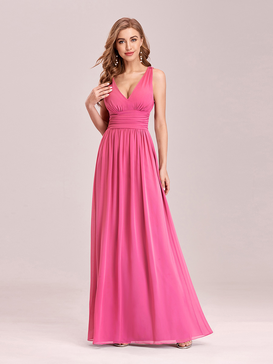 Evening-Dresses Long-Gown Night-Ever A-Line Pretty Chiffon Party Formal Elegant Woman