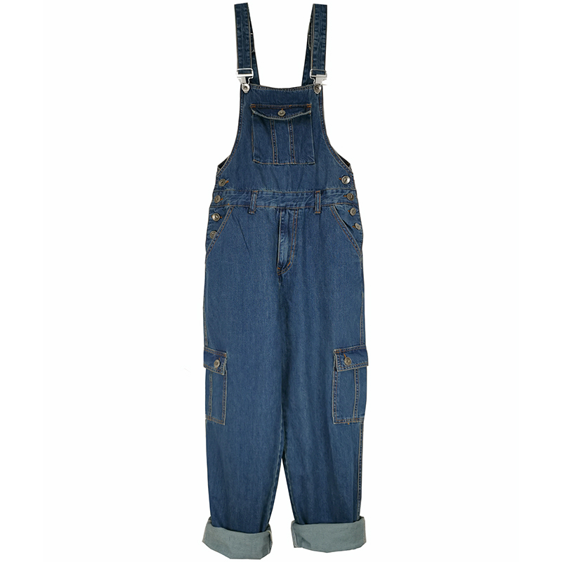 2020 Jeans Men Men's Denim Overalls Men's Overalls Jumpsuit Large Size 30-46 Strap Straight Pants Blue Jeans Plus Size