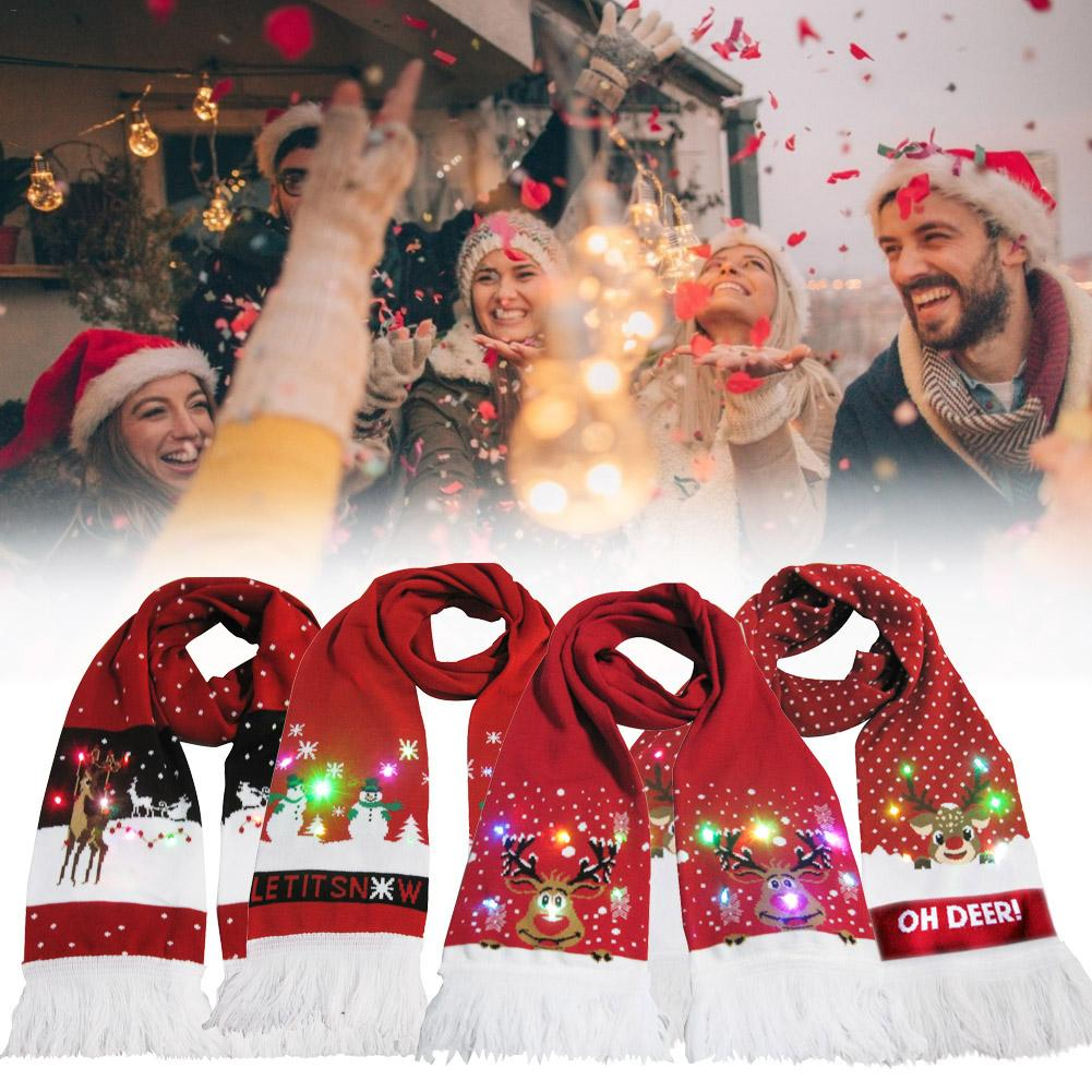 Christmas LED Luminous Scarf Winter Warm Knit Tassel Scarf Party <font><b>Holiday</b></font> <font><b>Xmas</b></font> <font><b>Decorations</b></font> <font><b>For</b></font> <font><b>Home</b></font> <font><b>For</b></font> Kids Girls Gift image