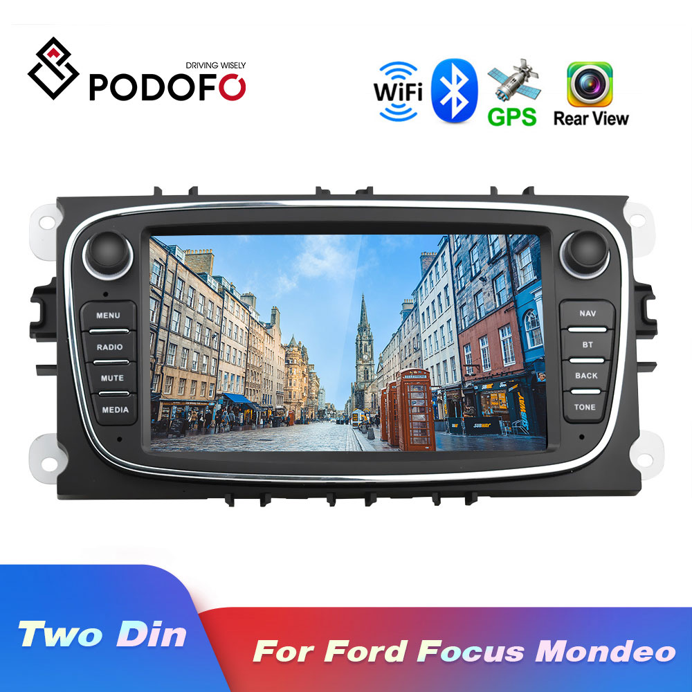 Podofo Android 8.1 GPS Car Radios 2 Din Car Multimedia player 7'' Audio DVD Player For Ford/Focus/S-Max/Mondeo 9/GalaxyC-Max