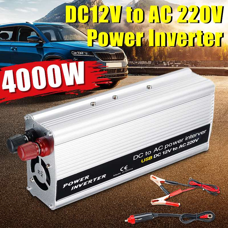 KROAK 4000W DC 12V To AC 220V USB Car Power Inverter Charger Converter Adapter DC 12 To AC 220 Modified Sine Wave Transformer