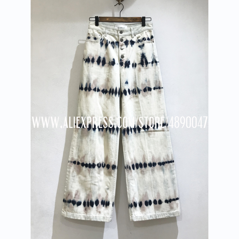 Jeans Trousers Wide-Leg-Pants Straight High-Quality Mid-Rise Fashion Women's Tie-Dye