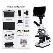 TV type Professional Lab sperm biological HD Binocular microscope zoom 2000X + USB 5MP electronic digital eyepiece +7-inch LCD