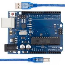 10 juegos de placa de desarrollo Compatible con wth UNO R3 MEGA328P ATMEGA16U2 + Cable USB