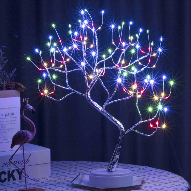 LED Tabletop Bonsai Tree Light Touch Switch DIY Artificial Light Tree Lamp Decoration Festival Holiday Battery/USB Operated D30 4