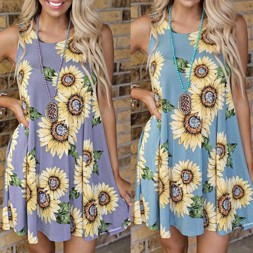 vestidos mode frau kleid casual sonnenblumen druck sleeveless sommer  sommerkleid mini kleid sommer kleider 2020