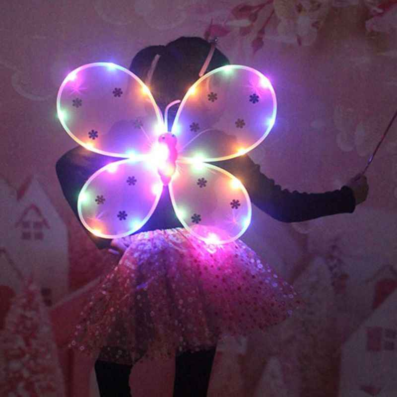 3 adet kız LED melek kanatları seti peri değnek Bandana taç prenses karnaval kostüm M6CD
