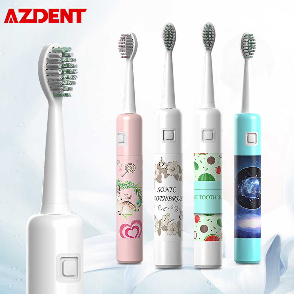 AZDENT Ultrasonic Electric Toothbrush 6 Mode Gear Rechargeable Travel Children Adults Teeth Brush 6 Hours Charging 20 Days Using