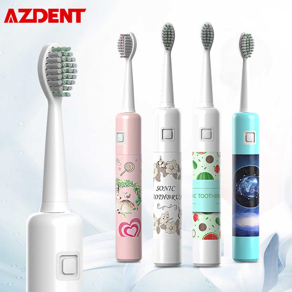 Azdent ultrassônica escova de dentes elétrica 6 modo engrenagem recarregável viagem crianças adultos escova 6 horas carregamento 20 dias usando