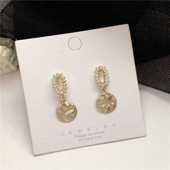 South Korea Temperament Irregular Geometry Stud earrings Metallic Earrings Contracted Wafer Eardrop Long Earrings image