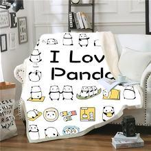 Панда шерпа одеяло мультфильм Животные пледы лето зима флис
