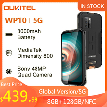 OUKITEL WP10 5G 48MP Quad Camera NFC SmartPhone Global Version 8GB+128GB 8000mAh Mobile Phone 6.67 FHD FullScreen