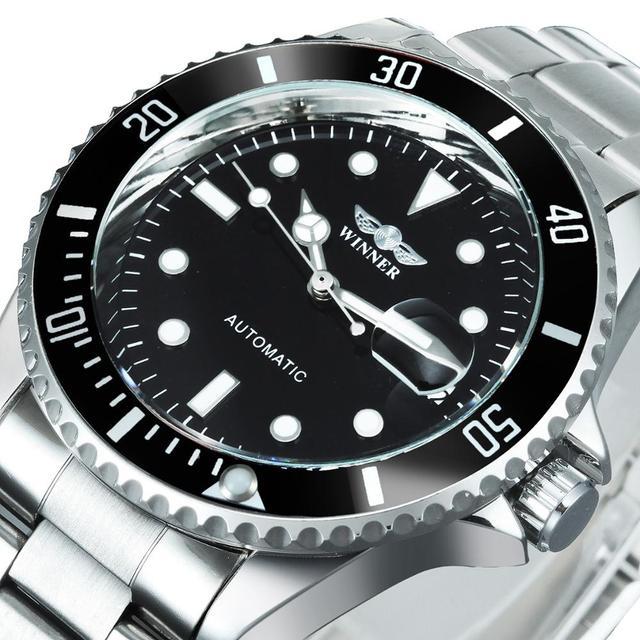 WINNER Official Classic Automatic Watch Men Business Mechanical Watches Top Brand Luxury Steel Strap Calendar Wristwatches hot