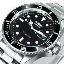 WINNER Reloj Automático clásico oficial para hombre, relojes mecánicos de negocios, correa de acero de lujo, relojes de pulsera con calendario