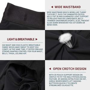 Image 5 - גברים גוף Shaper הרזיה מכנסיים קצרים גבוהה מותן Shapewear דוגמנות בוקסר למתוח בטן בקרת אבנט מעלית במיוחד תחתונים
