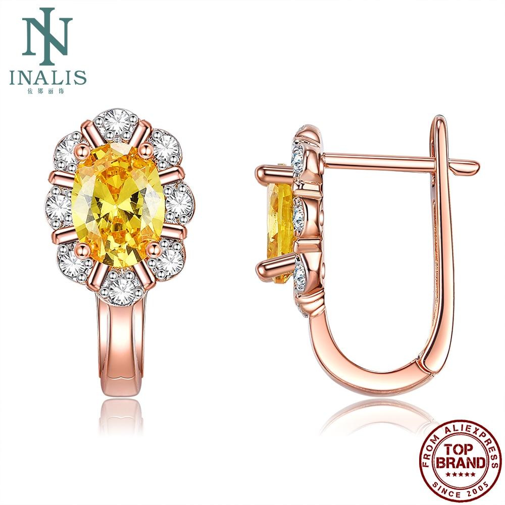 INALIS лепесток 5A прозрачным кубическим цирконием с покрытием из розового золота, серьги со шпилькой, для женщин, медные серьги для девочек веч...