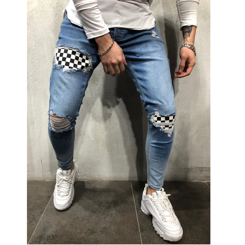 New Fashion Men's Jeans  Spliced Ripped Denim Pants  Pencil Jeans Slim Patch Pants  Plaid Pants Elastic Waistline S-3XL