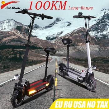 Patinete eléctrico plegable con asiento, Scooter Eléctrico de 48V y 500w, con distancia de 100KM, batería de litio de 26Ah, para adultos