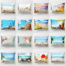 30x50cm Pillow Cover Printed Ocean Beach Scenery Pattern Decorative Pillowcase Removable Hotel Home Bedding Sets Pillowcase ocean style oblique striped anchor pattern square shape flax pillowcase without pillow inner