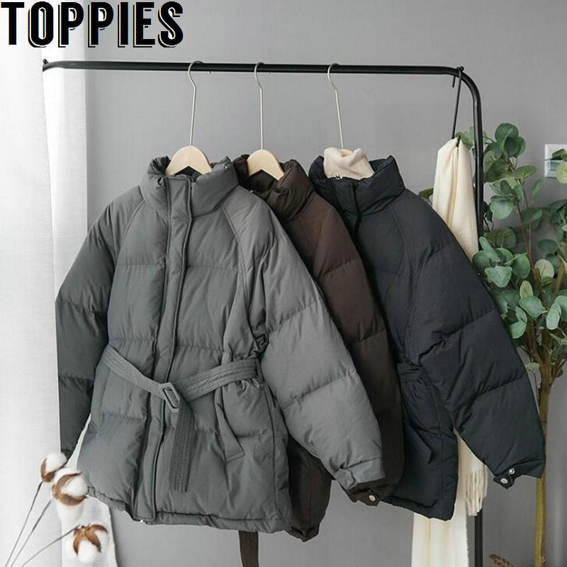 Veste d'hiver femmes veste coréenne manteau Long ceinture vêtements rembourrés de coton col montant Parkas plus épais vêtements d'extérieur chauds