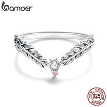 Bamoer V forma viti anelli di barretta per le donne in argento Sterling 925 retrò fidanzamento gioielli da sposa accessori moda BSR150