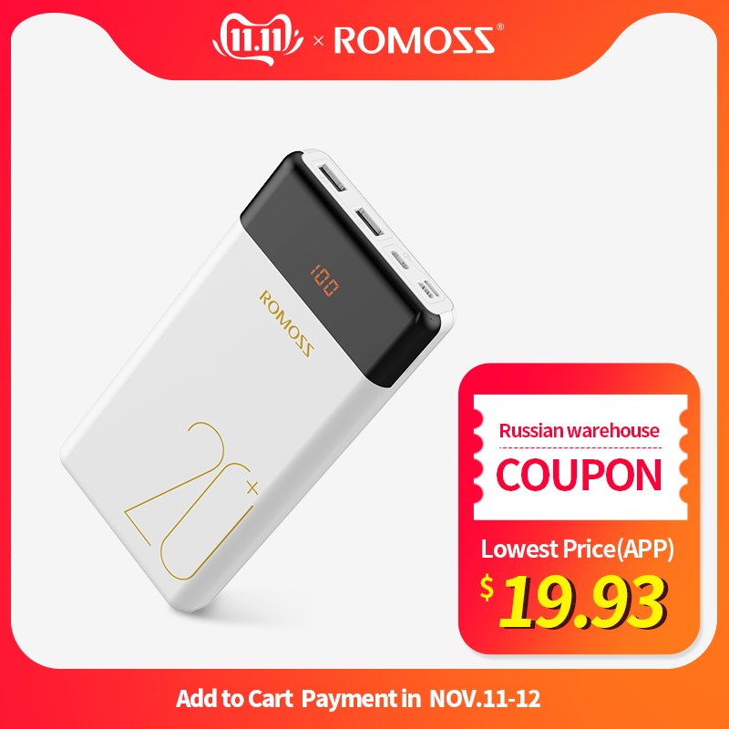 20000mAh ROMOSS LT20 Pro Power Bank Portable External Battery With QC Two-way Fast Charging Portable Charger For Phones Tablet