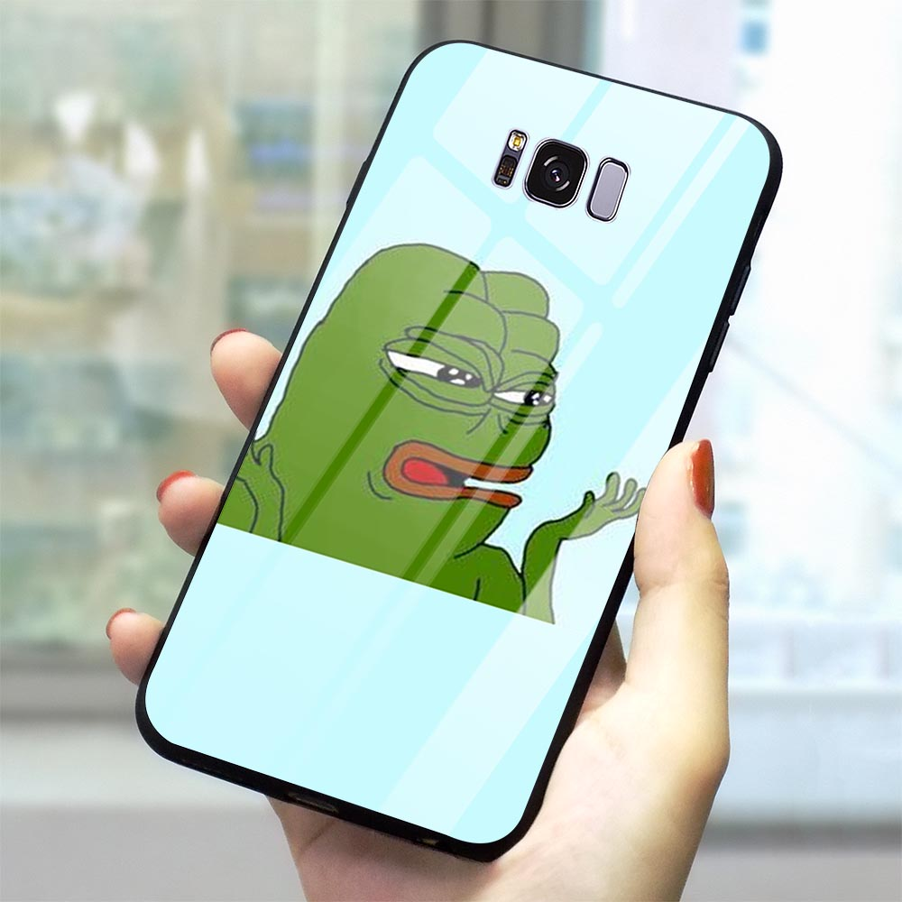 Fashion Frog meme pepe Tempered Glass Phone Cover for Samsung Galaxy A60 M40 Case A70 A50 A40 A20 A30 A10 S7 Edge S8 S9 Plus S10 image