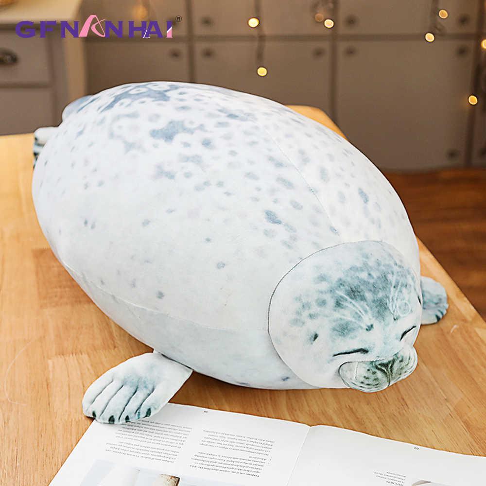 1 adet 80CM yumuşak büyük boy deniz aslanı peluş oyuncaklar deniz dünya hayvan mühür peluş doldurulmuş bebek bebek uyku yastığı çocuklar kız hediyeler