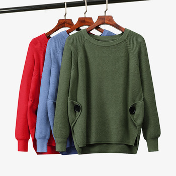 Split Side casual autumn winter O-NECK sweater pullovers Women basic loose sweater female oversize turtleneck knit sweater new arrival casual spring autumn loose sweater pullovers women long sleeve patchwork knit top female o neck geometric sweater