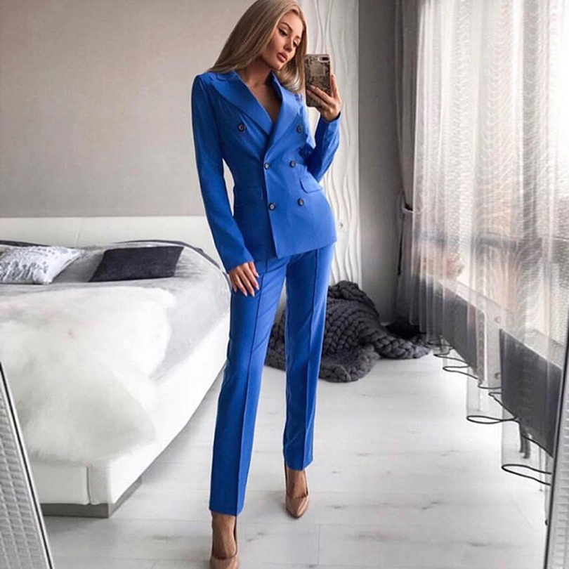 MVGIRLRU Office Lady Blazer Pant Suits Women's Notched Collar Buttons Jacket And Straight Trousers 2 Piece Sets