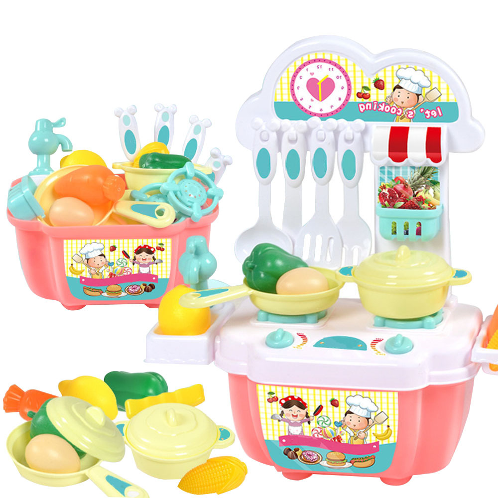 Children Kids Mini Kitchen Toy Set Baby Girls Play House Toy Pretend Play Kitchen Utensils Cooking Pots Food Cookware Toy Gifts
