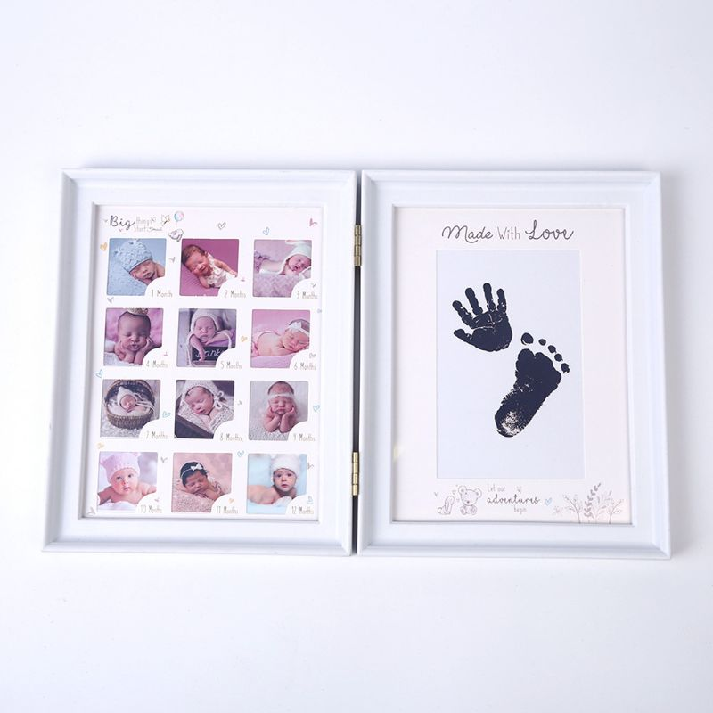 Newborn Baby Hand Foot Ink Pad Print Infants Full Moon Age Growth Photo Frame E65D
