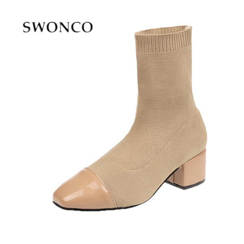 SWONCO Sock Shoes Women <font><b>Ankle</b></font> <font><b>Boots</b></font> <font><b>Block</b></font> <font><b>Heel</b></font> Casual Shoes Female Autumn 2019 Women Fashion Knitting Sock <font><b>Boots</b></font> <font><b>Ankle</b></font> <font><b>Boot</b></font> Lady image