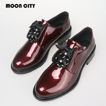 Купить с кэшбэком 2020 Fashion Women Patent leather loafers Ladies Brand Casual Oxford Shoes Female Red Crystal Formal Flats Woman moccasins shoes