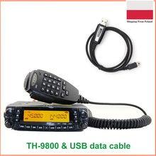Nova versão tyt TH-9800 auto walkie talkie 50km vhf uhf rádio móvel th9800 quad band transceptor dupla exibição epeater + cabo