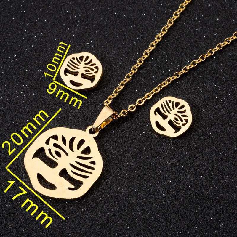 FENGLI klasyczne drzewo życia naszyjnik ze stali nierdzewnej dla kobiet kreatywny sześciokąt oświadczenie Stud kolczyk biżuteria męska bisutería