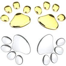 1 คู่ Dog Paw Footprint สติกเกอร์ 3D Chrome สัตว์รูปลอก Auto Car Emblem Decal สติ๊กเกอร์ตกแต่ง Silver Gold