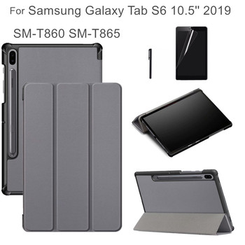 Flip Case for Samsung Galaxy Tab S6 2019 SM-T860 SM-T865 10.5'' Funda Cover Magnet Auto Sleep Weak for Samsung Tab S6 Case +gift for samsung galaxy tab s6 10 5 sm t860 t865 case with pen holder pc silicone 3 layers anti fall tablet protector cover funda