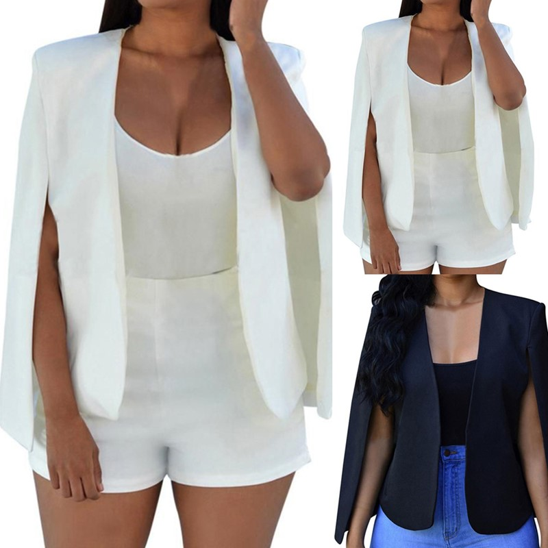 New Fashion Solid Color Women Split Cape Slim Fit Business Blazer Suit Jacket Coat