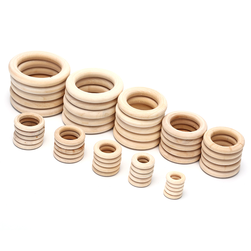 5/10/20/50pcs Natural Wood Teething Beads Wooden Ring Children Kids DIY Wooden Jewelry Making Crafts 10 Sizes