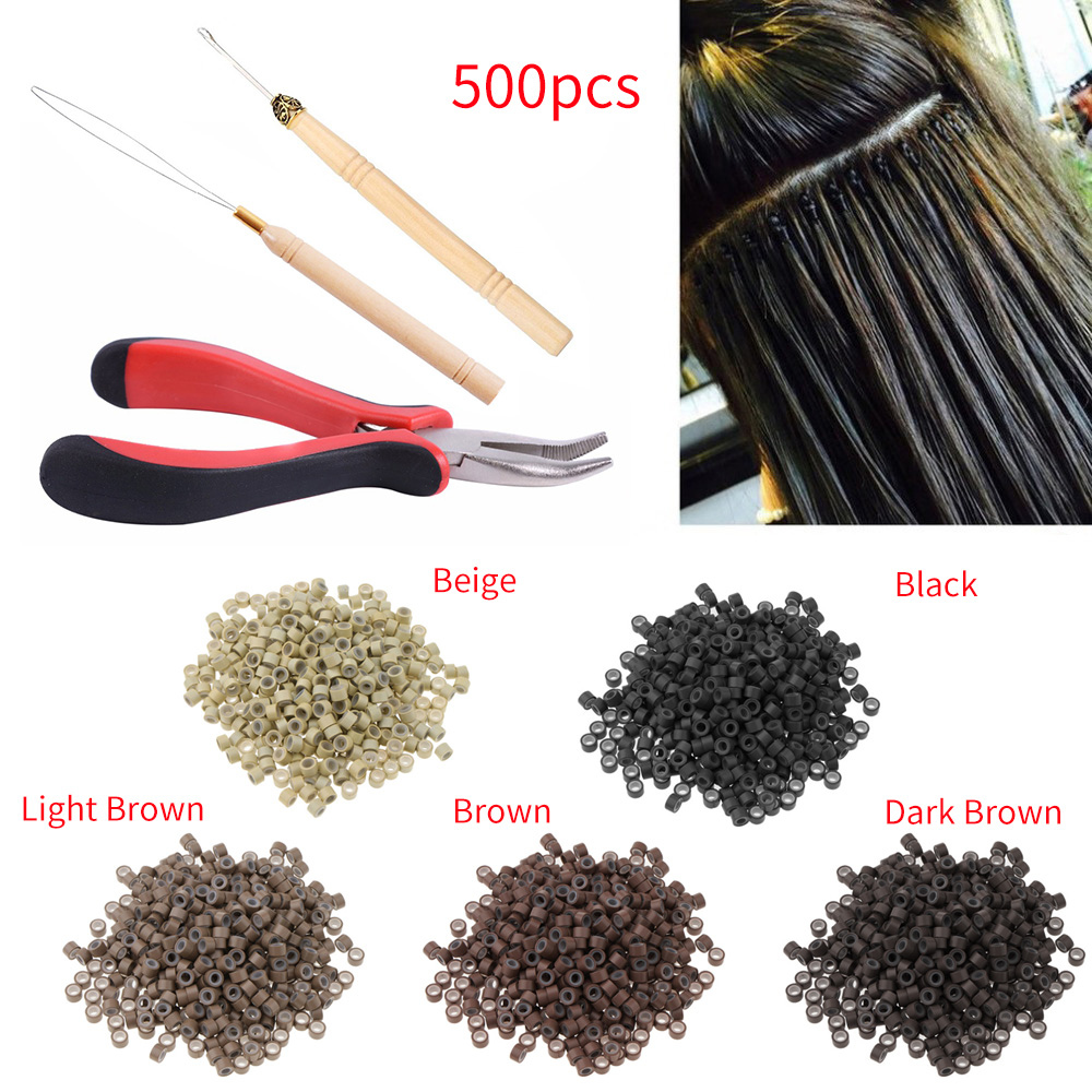 4pcs Hair Extension Kit 500pcs Microbeads Rings Pulling Needle Hook Plier For Barber Practical Styling Tool