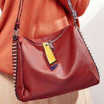 SUNNY SHOP Genuine Leather Handbag Fashion Designer Shoulder Bag Women Cow Leather Bag Soft Leather Messenger Bag Large Rivet