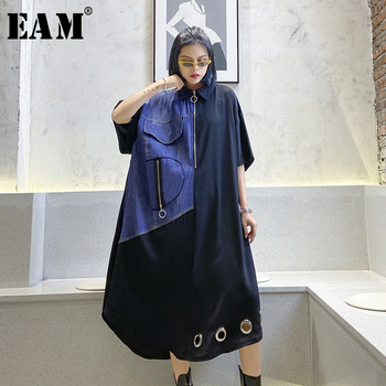 [EAM] Women Black Denim Split Hollow Out Big Size Dress New Lapel Short Sleeve Loose Fit Fashion Tide Spring Summer 2020 1T840