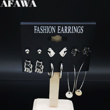6 Pair 2019 Fashion Cat Stainless Steel Set Earrings for Women Silver Color Earring Jewelry boucle doreille femme E612858