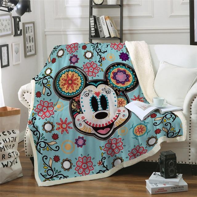 Disney Mickey Blanket Plush Winter Blanket Throw for Beds Sofa Noble Bedding Sherpa Blankets Baby Girls Boys Kids Gift