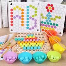 Brinquedo de madeira montessori, jogo de quebra-cabeça de madeira com clipe para contagem de cores