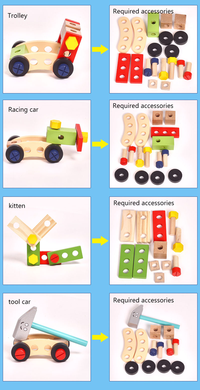 Kids Wooden Toolbox Pretend Play Set Educational Montessori Toys Nut Disassembly Screw Assembly Simulation Repair Carpenter Tool 12