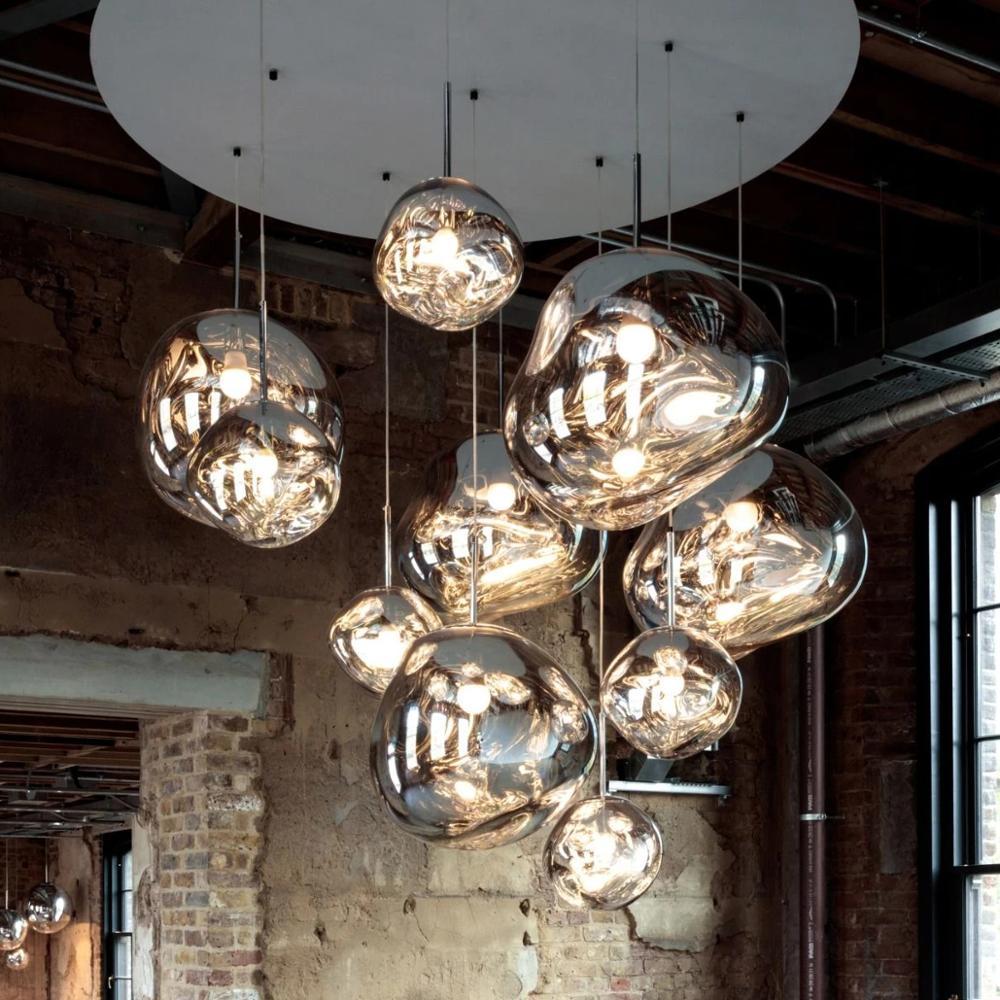 Nordic Pendant Lights lustre 100% Glass Lava Pendant Lamp Purple Lighting Hanging Lamp Master Bedroom Bar Europe Kitchen Lights