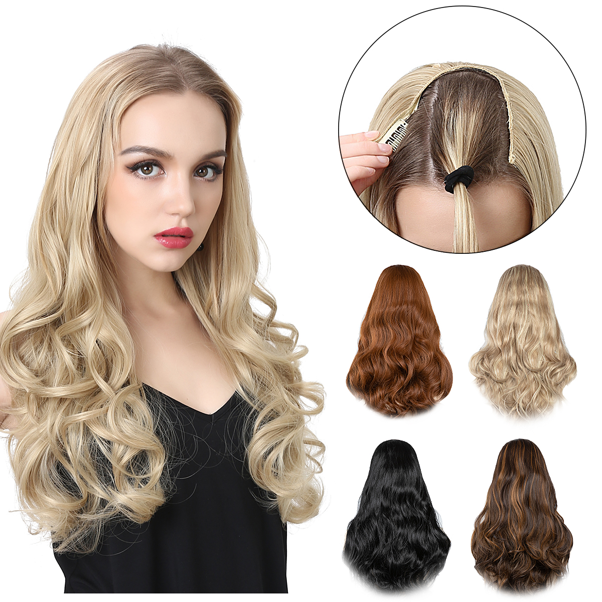 Wavy U Part Wigs for Women  Clip in Hair Extension Invisible Half False Synthetic Wig Long Blonde Black Natural Hairpieces